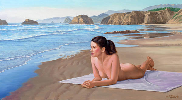 Wall Art - Painting - Mandy At The Beach by Paul Krapf