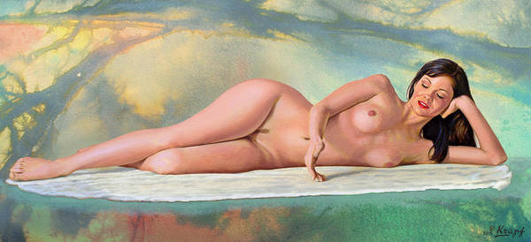 Background Painting - Mandy Reclining by Paul Krapf
