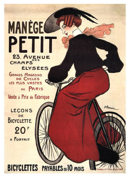Wall Art - Mixed Media - Manege Petit - Bicycles - Vintage French Advertising Poster by Studio Grafiikka