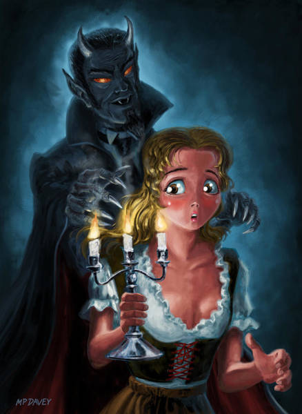 Digital Art - Manga Vampire And Woman Horror by Martin Davey