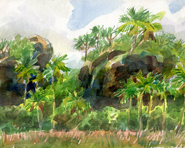 Painting - Mangaia Cliffs by Judith Kunzle