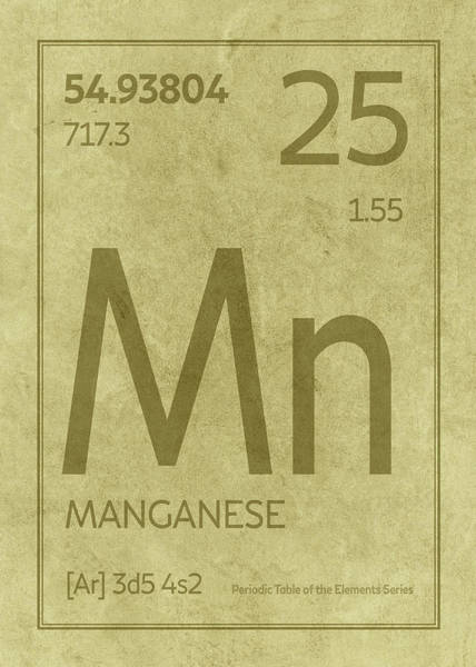 Elements Mixed Media - Manganese Element Symbol Periodic Table Series 025 by Design Turnpike