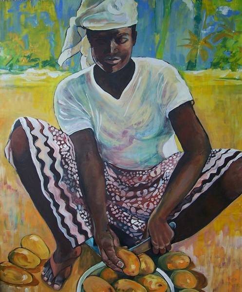 Caribbean Wall Art - Painting - Mango Time by Jan Farara
