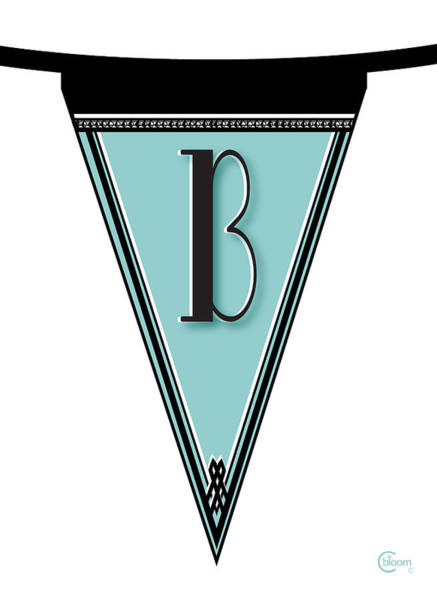Digital Art - Pennant Deco Blues Banner Initial Letter B by Cecely Bloom