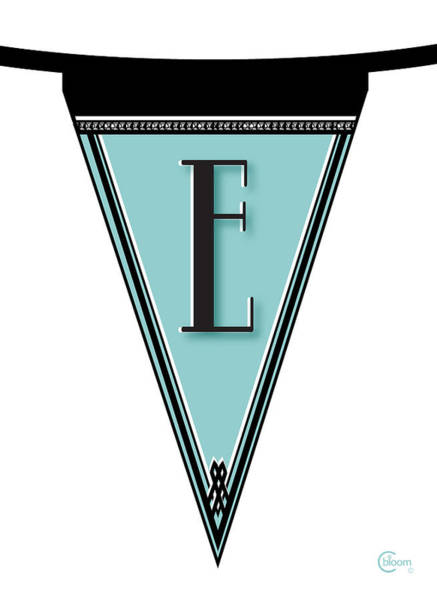 Digital Art - Pennant Deco Blues Banner Initial Letter E by Cecely Bloom