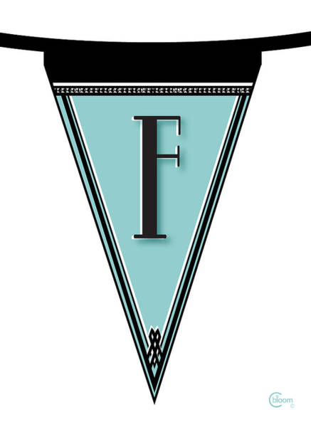 Painting - Pennant Deco Blues Banner Initial Letter F by Cecely Bloom