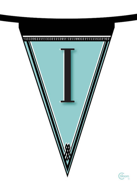 Digital Art - Pennant Deco Blues Banner Initial Letter I by Cecely Bloom