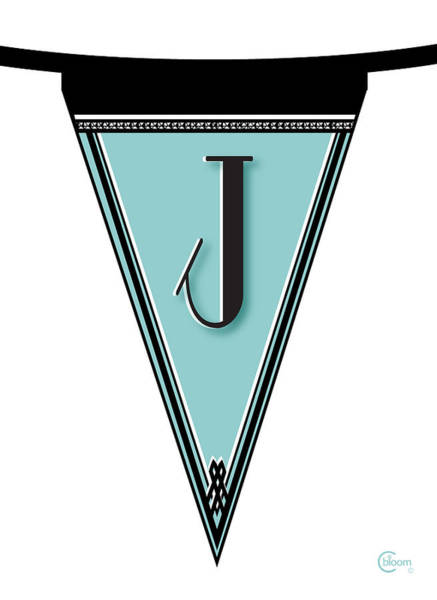Digital Art - Pennant Deco Blues Banner Initial Letter J by Cecely Bloom