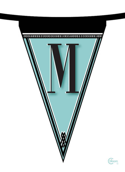 Digital Art - Pennant Deco Blues Banner Initial Letter M by Cecely Bloom