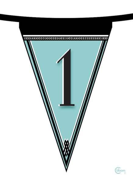 Digital Art - Pennant Deco Blues Banner Number One by Cecely Bloom