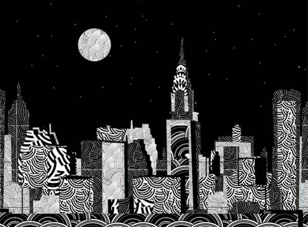 Mixed Media - Manhattan Night...new York Deco by Cecely Bloom