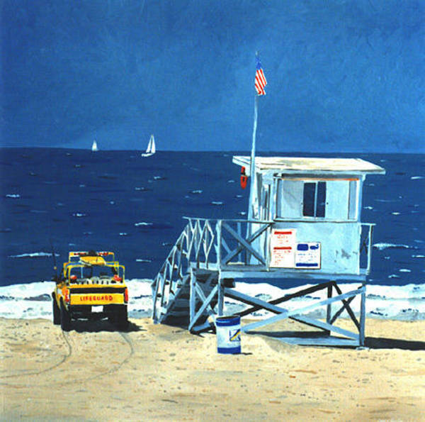 Painting - Manhattan Beach Lifeguard Station by Lance Headlee