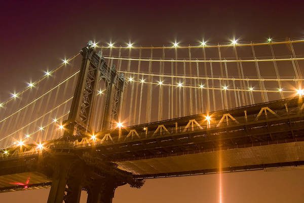 Manhattan Bridge At Night 1 Art Print