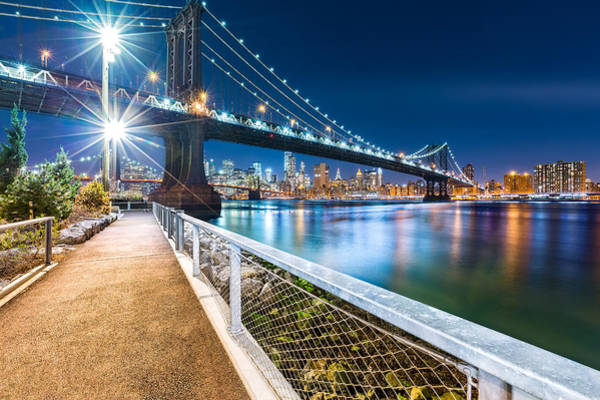 Photograph - Manhattan Bridge By Night by Mihai Andritoiu