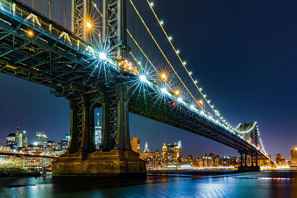 Photograph - Manhattan Bridge Framing Freedom Tower by Mihai Andritoiu