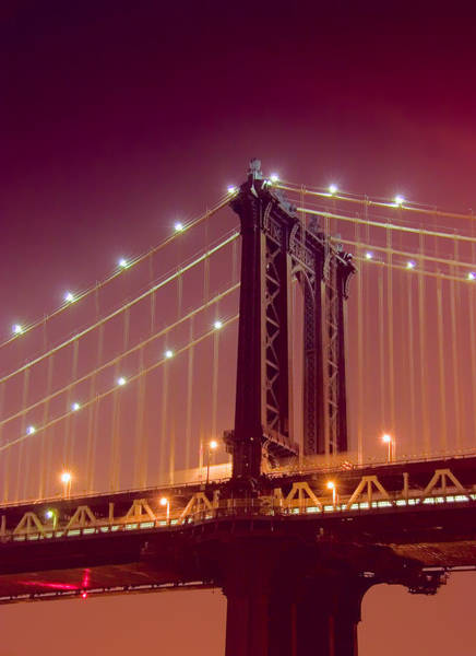 Photograph - Manhattan Bridge From Brooklyn At Night by Val Black Russian Tourchin