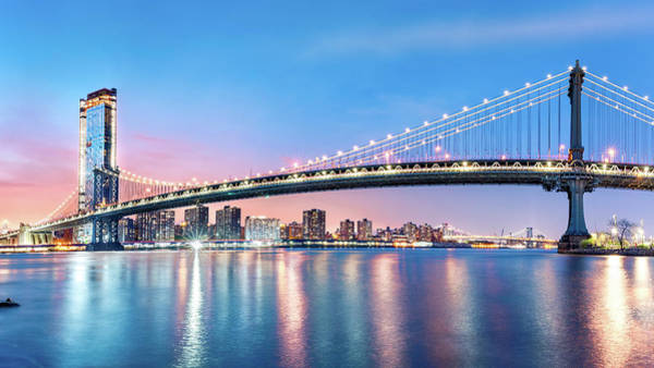 Photograph - Manhattan Bridge Panorama At Dawn by Mihai Andritoiu