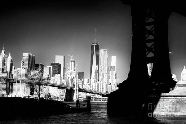 Photograph - Manhattan Bridge Shadows Infrared by John Rizzuto