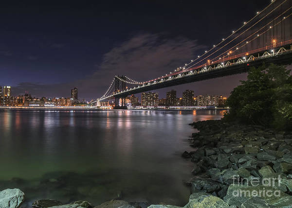 Photograph - Manhattan Bridge Twinkles At Dusk by Alissa Beth Photography