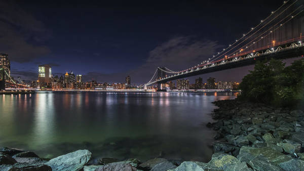Photograph - Manhattan Bridge Twinkles At Night by Alissa Beth Photography