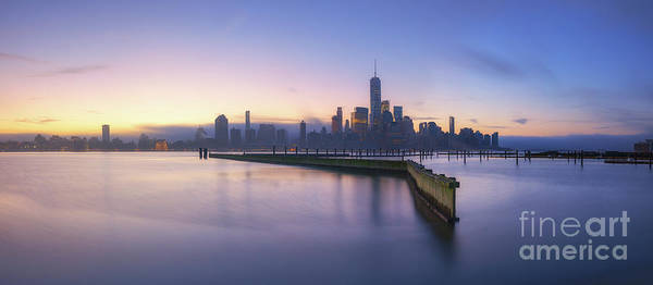 Lower Manhattan Photograph - Manhattan From Jersey City Panorama  by Michael Ver Sprill