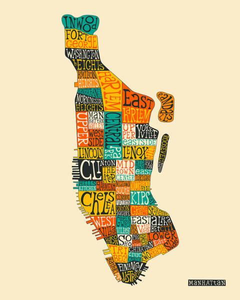 Manhattan Wall Art - Digital Art - Manhattan Neighborhood Map Typography by Jazzberry Blue