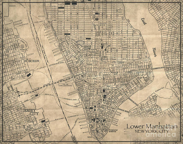 Cartography Photograph - Manhattan New York Antique Vintage City Map by ELITE IMAGE photography By Chad McDermott