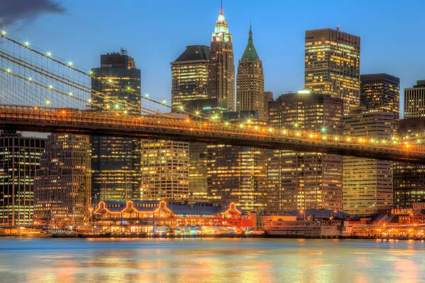 Photograph - Manhattan Night Skyline II by Clarence Holmes