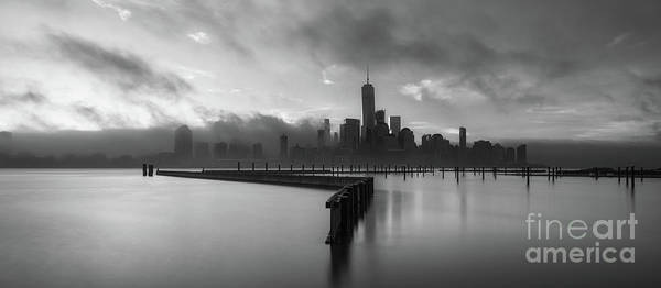 Lower Manhattan Photograph - Manhattan On Fire Bw Pano by Michael Ver Sprill