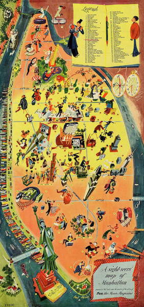 New York Wall Art - Mixed Media - Manhattan Sight Seeing Tourist 1946 Map by Zal Latzkovich