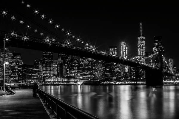 Wall Art - Photograph - Manhattan Skyline And Brooklyn Bridge Gorgeous Nightscape by Melanie Viola
