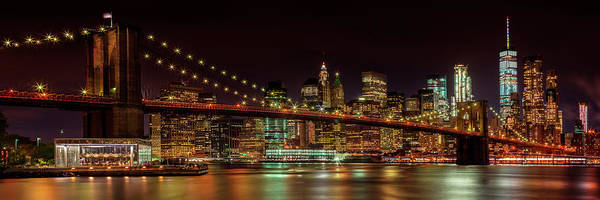 Wall Art - Photograph - Manhattan Skyline And Brooklyn Bridge Idyllic Nightscape - Panorama  by Melanie Viola