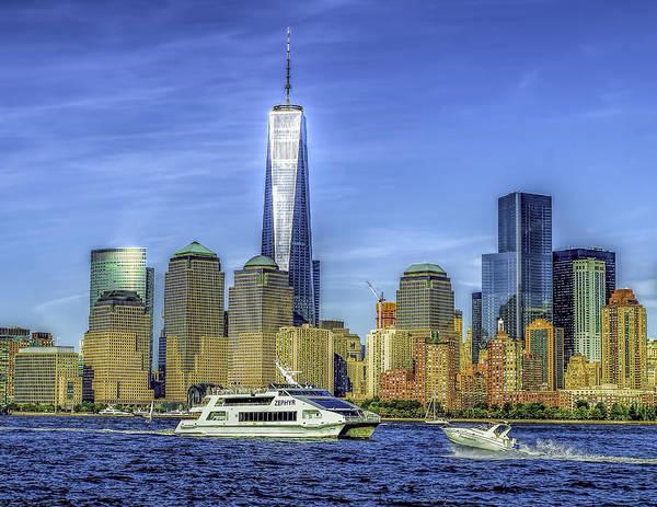 Photograph - Manhattan Skyline And Ferry by Nick Zelinsky