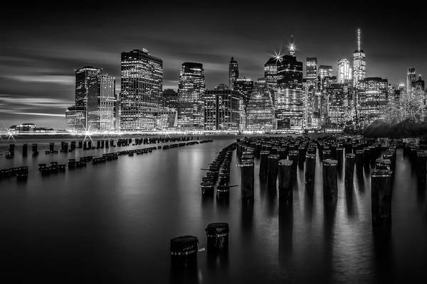 Wall Art - Photograph - Manhattan Skyline At Sunset - Monochrome by Melanie Viola