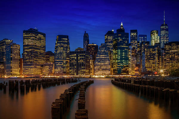 Wall Art - Photograph - Manhattan Skyline Blue Hour by Melanie Viola