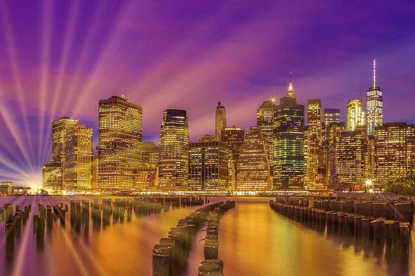 Wall Art - Photograph - Manhattan Skyline Bright Sunset by Melanie Viola