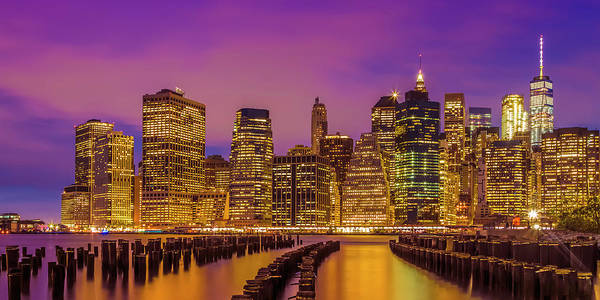Wall Art - Photograph - Manhattan Skyline Bright Sunset - Panoramic by Melanie Viola
