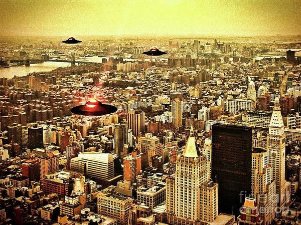 Scifi Digital Art - Manhattan Skyline By Raphael Terra by Raphael Terra