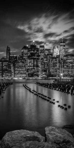 Wall Art - Photograph - Manhattan Skyline Evening Atmosphere In New York City - Monochrome Panorama  by Melanie Viola
