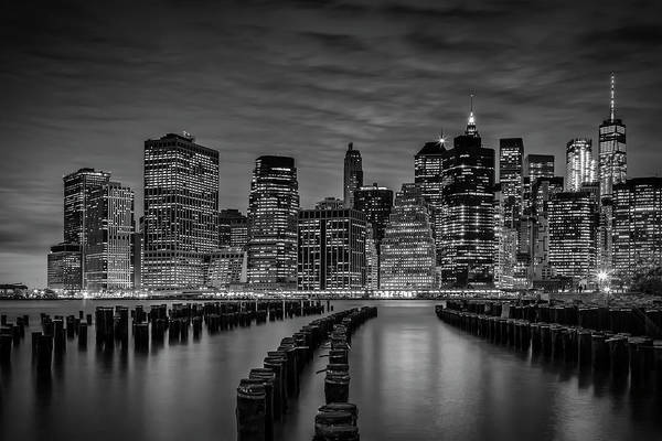 Wall Art - Photograph - Manhattan Skyline Evening Atmosphere - Monochrome by Melanie Viola