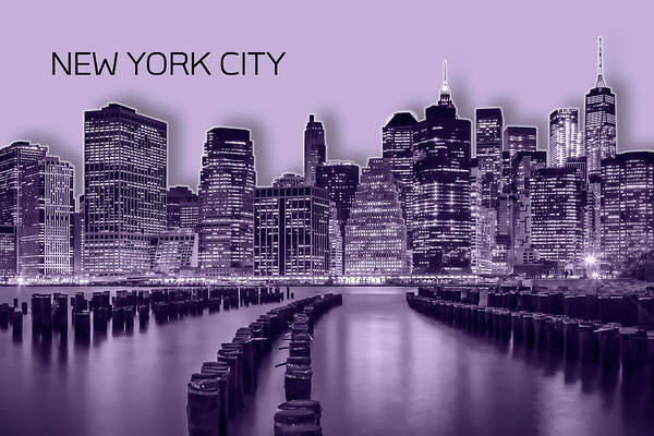 Wall Art - Digital Art - Manhattan Skyline - Graphic Art - Purple by Melanie Viola