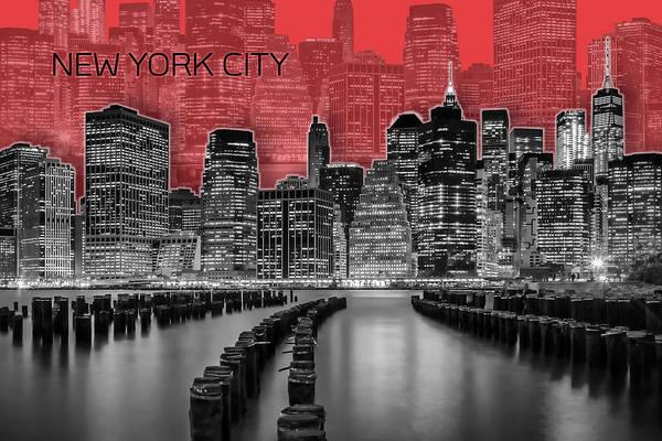 Wall Art - Digital Art - Manhattan Skyline - Graphic Art - Red by Melanie Viola