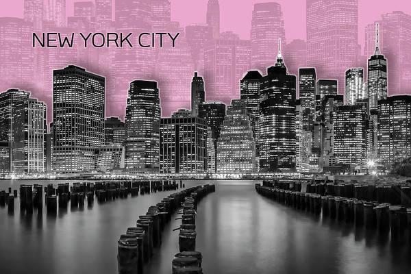 Wall Art - Photograph - Manhattan Skyline - Graphic Art - Rose by Melanie Viola