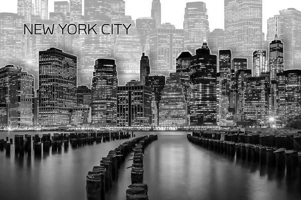 Wall Art - Digital Art - Manhattan Skyline - Graphic Art - White by Melanie Viola