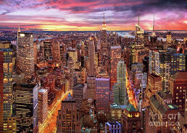 Wall Art - Digital Art - Manhattan Skyline by MGL Meiklejohn Graphics Licensing