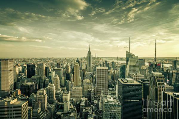 Photograph - Manhattan Skyline- Sepia by Franz Zarda