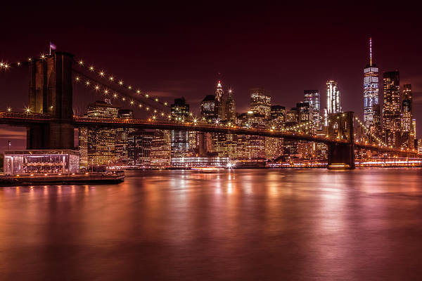 Wall Art - Photograph - Manhattan Smanhattan Skyline And Brooklyn Bridge Sunset  by Melanie Viola