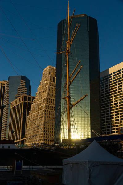 Photograph - Manhattan Sunrise Reflection Through Masts And Rigging by Georgia Mizuleva