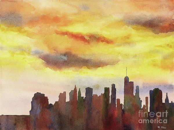 Manhattan Skyline Painting - Manhattan Sunset by Ryan Fox