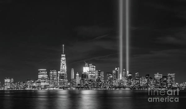 September 11 Wall Art - Photograph - Manhattan Tribute In Light Bw by Michael Ver Sprill